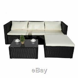0Garden Corner Rattan Sofa Set Garden Outdoor Furniture Patio Set 5 Piece Black