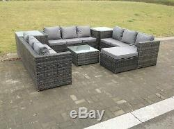 10 seater U shape rattan sofa set table outdoor garden furniture patio grey