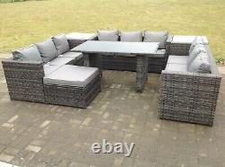 10 seater corner rattan sofa set table outdoor garden furniture patio grey