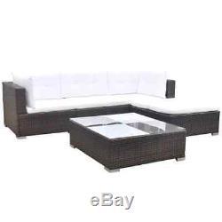 14 Pcs Garden Lounge Set Sofa In/Outdoor Furniture Poly Rattan Brown/Black/Grey