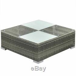 14 Piece Outdoor Garden Furniture Lounge Set Poly Rattan Grey Q4F8