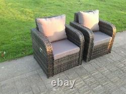 2 PC Reclining Rattan Sofa Chair Patio Outdoor Garden Furniture Set With Cushion