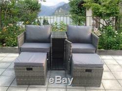 2 Rattan Garden Wicker Outdoor Conservatory Sofa Furniture Set Cube Dining Set