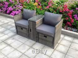 2 Rattan Garden Wicker Outdoor Conservatory Sofa Furniture Set Cube Dining Set