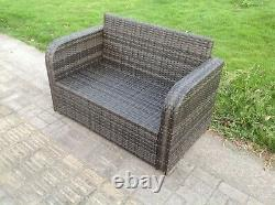 2 Seater Curved Arm Rattan Sofa Patio Outdoor Garden Furniture With Cushion