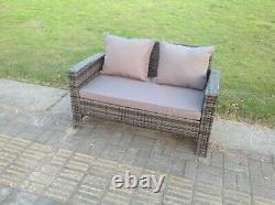 2 Seater Rattan Sofa Patio Outdoor Garden Furniture With Cushion