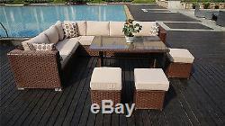 2019PAPAVER RANGE 9 Seater PE Rattan Corner Sofa & Dining Set Garden Furniture