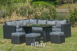 2020 NEW Barcelona Rattan garden furniture 9 seater Dining Corner sofa set Black