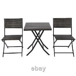 3 PCS Folding Bistro Set Garden Patio Rattan Table & 2 Chairs Set Furniture