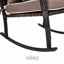 3 PCS Rattan Garden Furniture Bistro Set Rocking Chairs Coffee Table Cushions