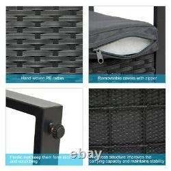 3PC Black Rattan Garden Furniture Bistro Set Chair Table Patio Outdoor Wicker