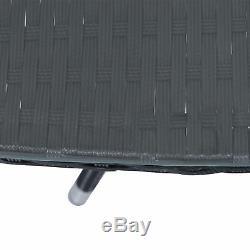 3PC Rattan Furniture Bistro Set Garden Table Chairs Patio Outdoor Wicker Black