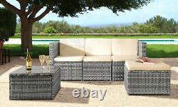 3PC Rattan Garden Patio Furniture Outdoor Set Sofa, Footstool & Coffee Table