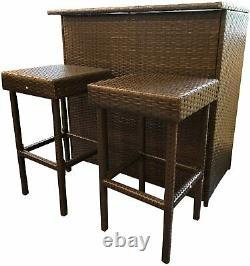 3PCS Rattan Bar Set Terrace Patio Garden Backyard Wicker Furniture Set