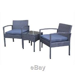 3pc Poly Rattan Bistro Set Garden Furniture for Outdoor/Conservatory/Patio