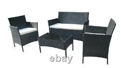 4 Pcs Rattan Garden Furniture Set Outdoor Sofa 2 x Arm Chairs Coffee Table UK