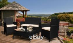 4 Piece Rattan Garden Furniture Set chairs sofa Table Outdoor Patio Conservatory