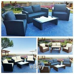 4 Pieces Rattan Garden Furniture Patio Set Sofa Table Chairs with Cushion 3 Color