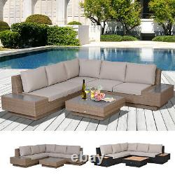 4 Pieces Sectional Rattan Sofa Garden Furniture Set Table Outdoor with Cushion