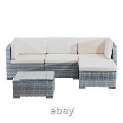4 seats outdoor sofa rattan garden furniture set Light grey CANNES