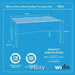 4pc Garden Patio Black Rattan Sofa Outdoor Furniture Conservatory Wicker Wido
