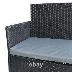 4pcs Rattan Outdoor Garden Furniture Sofa Set Table & Chairs (Roger Black)
