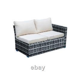 5 PCS Garden Rattan Furniture Set Patio Outdoor Lounge Sofa Set Coffee Table