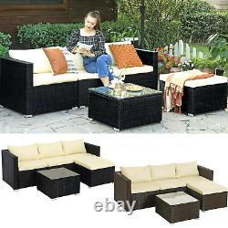 5-Piece Garden Furniture Corner Sofa Set PE Rattan Patio Furniture Outdoor Couch