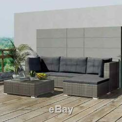 5 Pieces Poly Rattan Garden Corner Sofa Lounge Set Outdoor Patio Furniture New