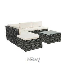 5 Seater Rattan Corner Garden Furniture Set Cushion Sofa Table Stool Table Patio