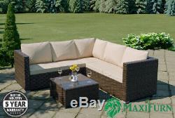 5 Seater Rattan Outdoor Corner Sofa Coffee Table Set Patio Garden Furniture New