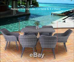 5pc Patio Rattan Wicker Table Chairs