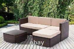 5pcs Rattan Garden Outdoor Furniture Patio Sofa Set chairs with Glass Table