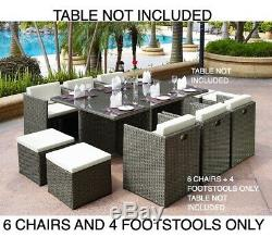 6 Garden Furniture Dining Chairs and 4 Footstool Only Golden Brown PE Rattan New