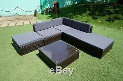 6 PCS Rattan Garden Furniture Set Patio Corner Sofa Set PE Wicker Steel Out