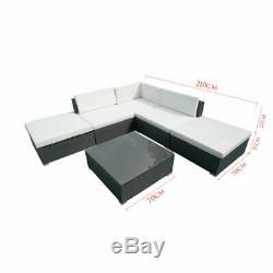6 PCS Rattan Garden Furniture Set Patio Corner Sofa Set PE Wicker Steel Outdoor