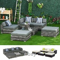 6 PCs Garden Rattan Furniture Set Sectional Wicker Sofa Coffee Table Grey/Brown