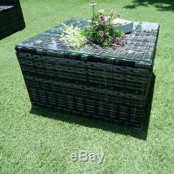 6 Pieces Rattan Garden Corner Sofa Table Chair Furniture Set Outdoor Lounge
