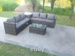 6 Seater Corner Rattan Sofa Set Coffee Table Out Door Garden Furniture Grey Mix