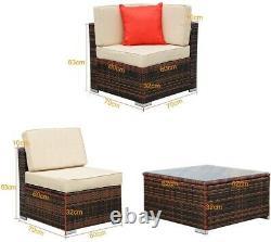 6 Seater Rattan Corner Sofa Set Coffee Table Chairs Outdoor Garden Furniture