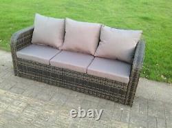 6 Seater Rattan Sofa Set Reclining Chair Footstool Outdoor Garden Furniture Grey