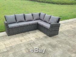 6 Seater rattan corner sofa set coffee table outdoor garden furniture mixed grey
