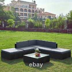 6 Seaters Rattan Corner Sofa Furniture with Cushion Table Wicker Garden Patio