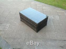 6 seater rattan corner sofa oblong coffee table outdoor garden furniture in grey