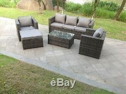 6 seater rattan sofa set coffee table chair set outdoor garden furniture in grey