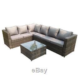6 seater wicker rattan sofa set coffee table outdoor garden furniture patio grey