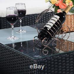 6PC Rattan Outdoor Garden Furniture Patio Corner Sofa Set PE Wicker Steel Fram