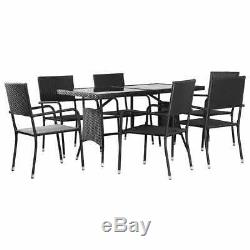 7 Piece Garden Dining Set Poly Rattan Furniture Outdoor Patio Table and Chair UK