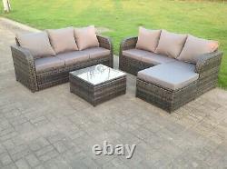 7 Seater Corner Rattan Sofa Set Table Footstool Outdoor Garden Furniture Grey