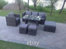 7 Seater Rattan Garden Furniture Set Sofa Dining Table Chair Stool Patio Grey